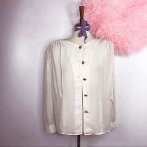 Vtg 90s Button Down Semi Sheer Blouse M